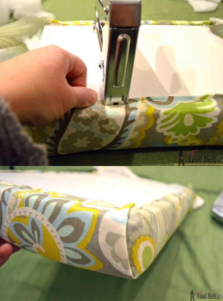 Step 17 stools attach fabric