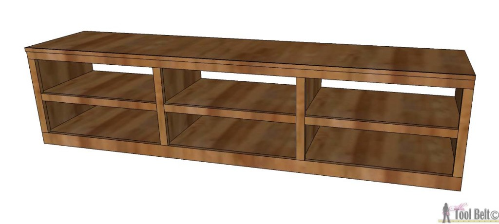 Organize those shoes with a shoe shelf bench, easily build it with pocket holes and these customizable woodworking plans.