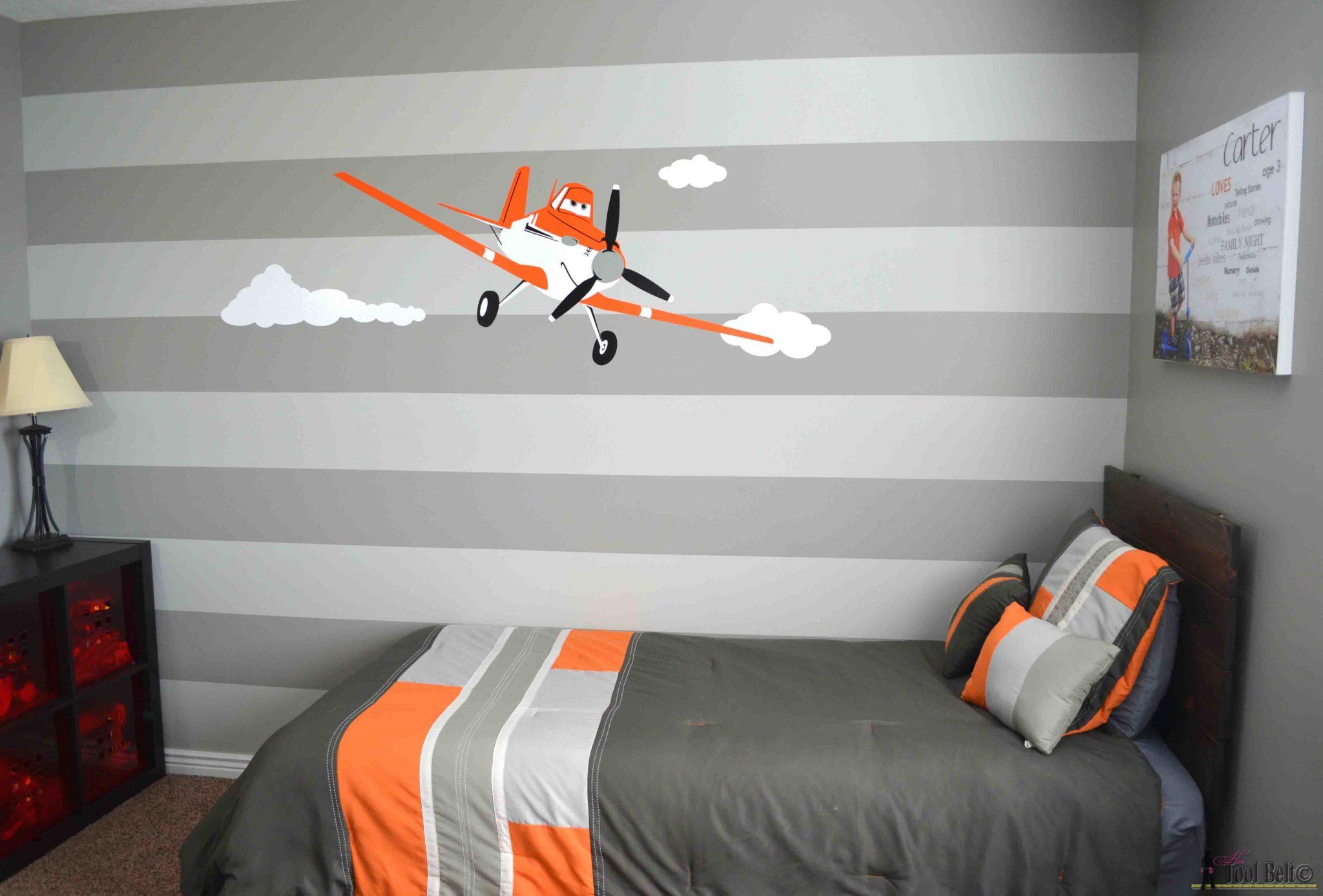 Super Cute Gray And Orange Boys Room Inspired By Racing Legend Dusty! Free  Woodworking Plans
