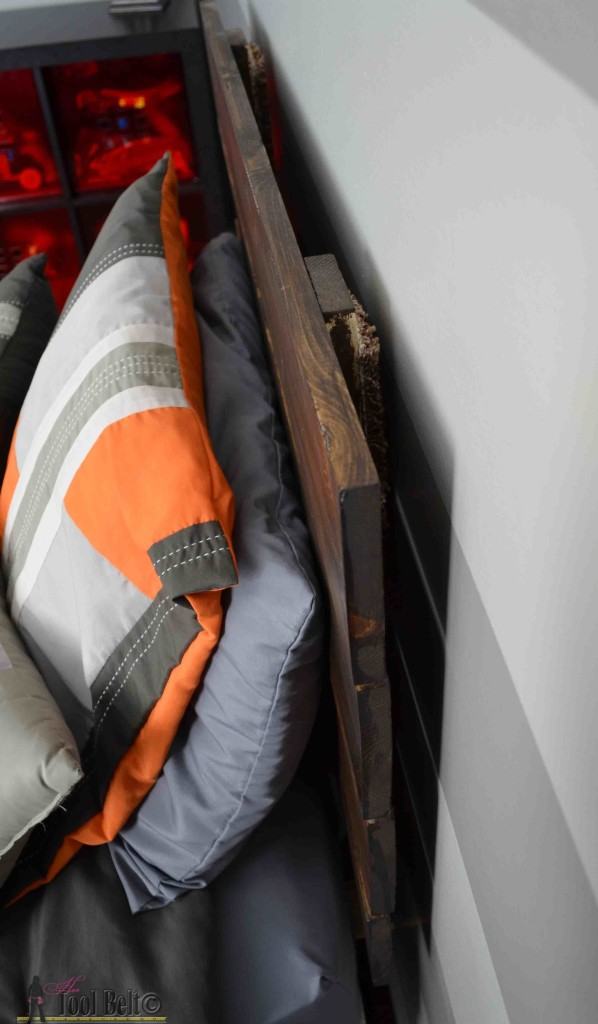 Super cute gray and orange boys room inspired by racing legend Dusty!  Free woodworking plans for an easy DIY - simple headboard.