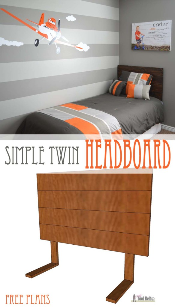 Super cute gray and orange boys room inspired by racing legend Dusty!  Free woodworking plans for an easy DIY - simple twin headboard.