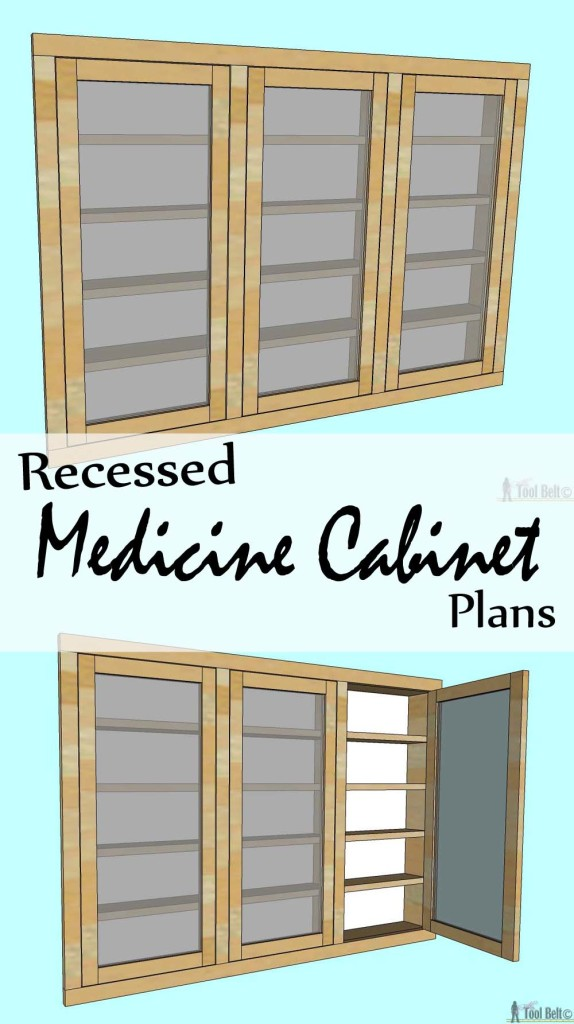 Create extra space in your bathroom by building a recessed medicine cabinet with these free woodworking plans.