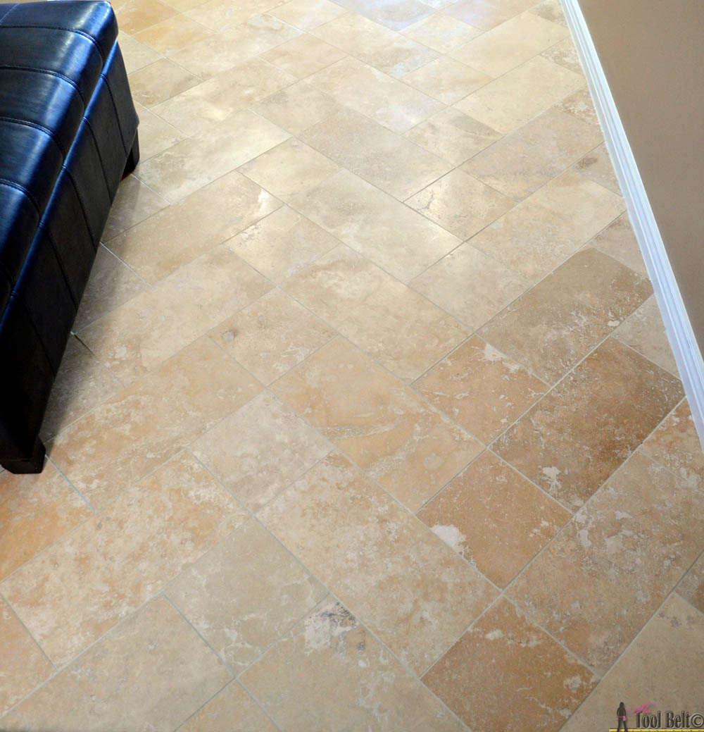 DIY Beautiful Travertine Tile Floors In A Pattern (herringbone Inserted) To  Make Your Budget