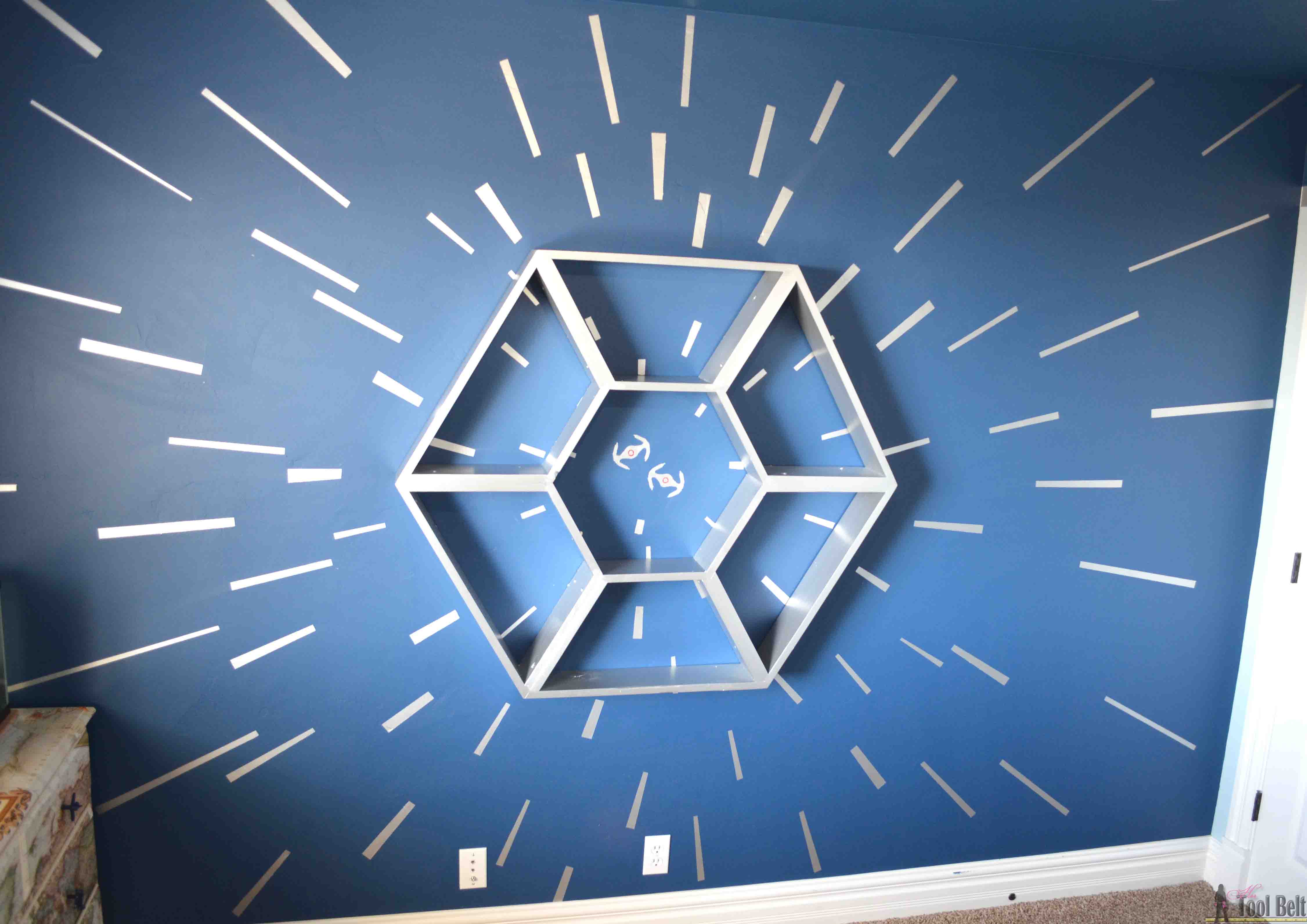 Star wars shelf and hyperspace wall her tool belt an awesome star wars bedroom with a hyperspace focal wall and fighter cockpit star wars shelf amipublicfo Choice Image