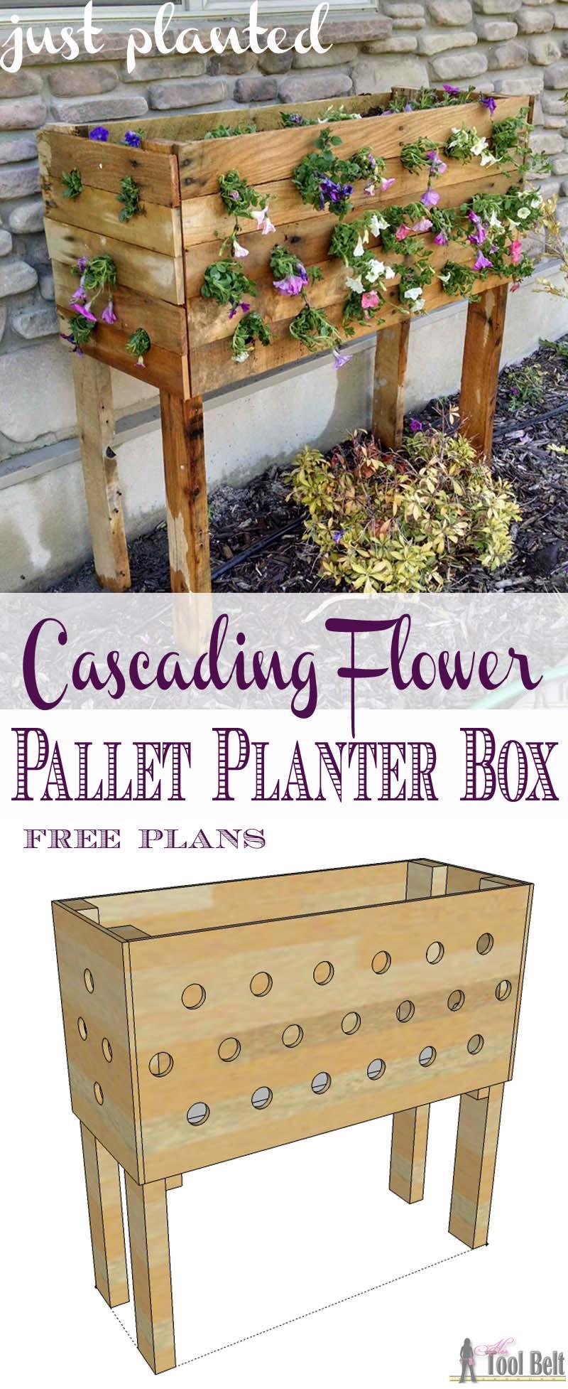 Pallet Planter Box For Cascading Flowers - Her Tool Belt