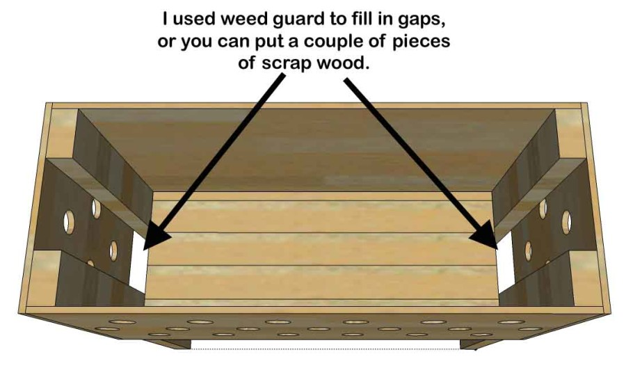 pallet planter box fill gaps