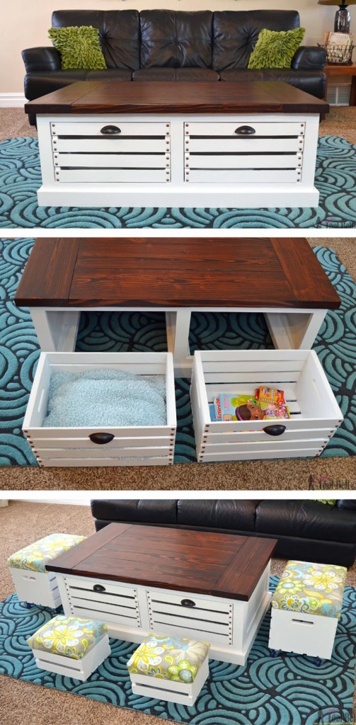 Add storage to your living areas by building a stylish and unique crate storage coffee table, free woodworking plans. #Ryobiorganized