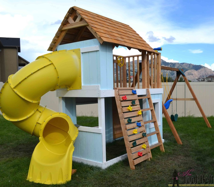 Diy clubhouse play set her tool belt for Diy play structure