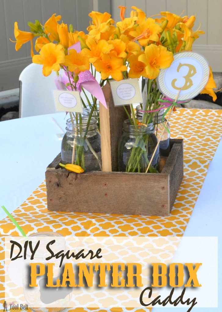 The perfect centerpiece for a rustic wedding or party! Free Plans for a DIY square planter box caddy that holds 4 quart mason jars.