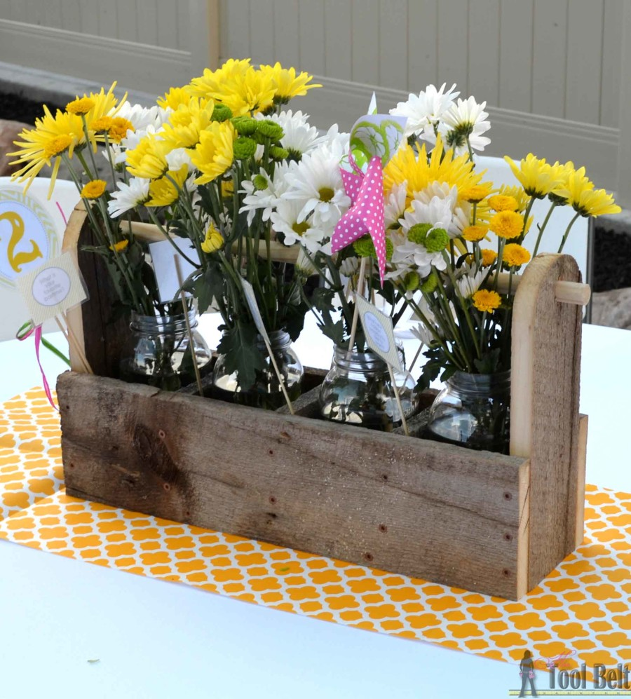 Mason jar caddy centerpiece toolbox