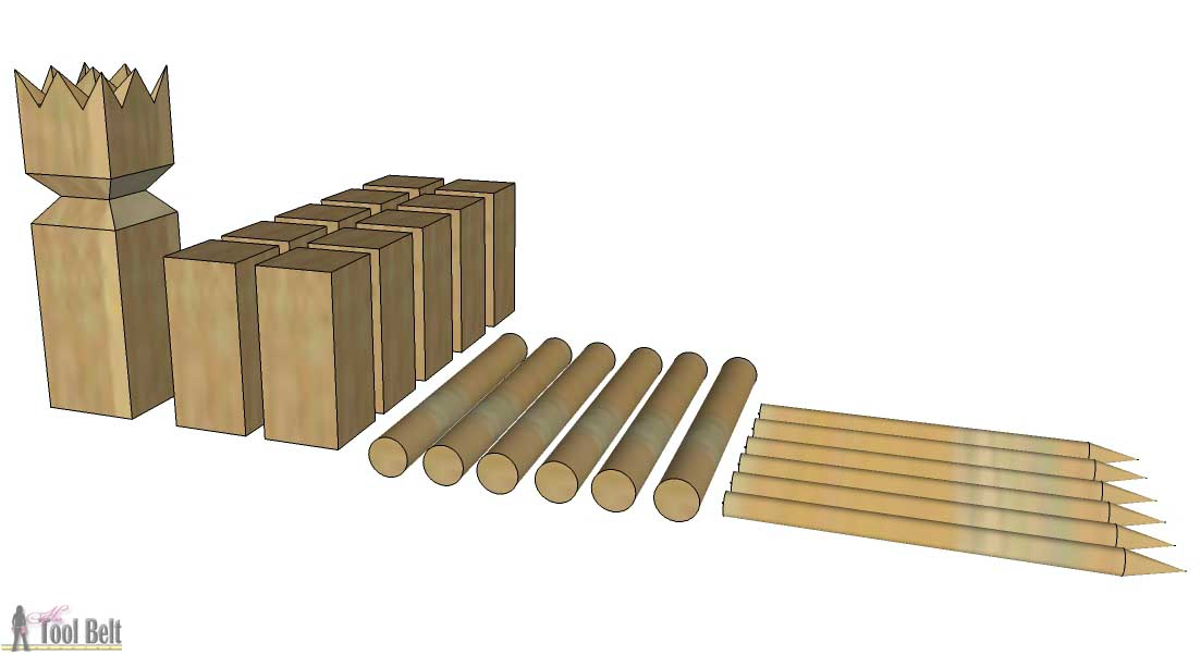 Diy kubb set her tool belt how to make a diy kubb set solutioingenieria Image collections