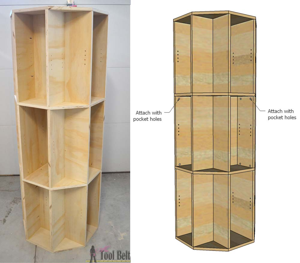Octagon Rotating Bookshelf - Her Tool Belt