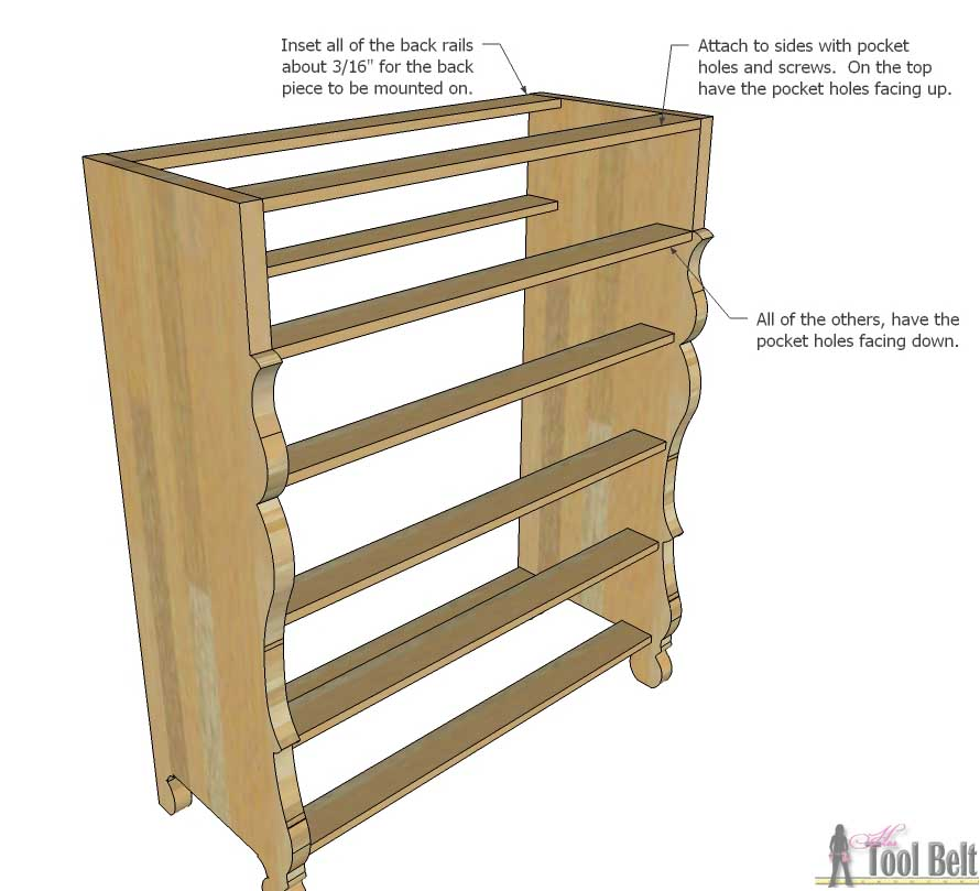 The perfect dresser for my little princess. Free plans to build a roomy Empire dresser with 7 drawers.