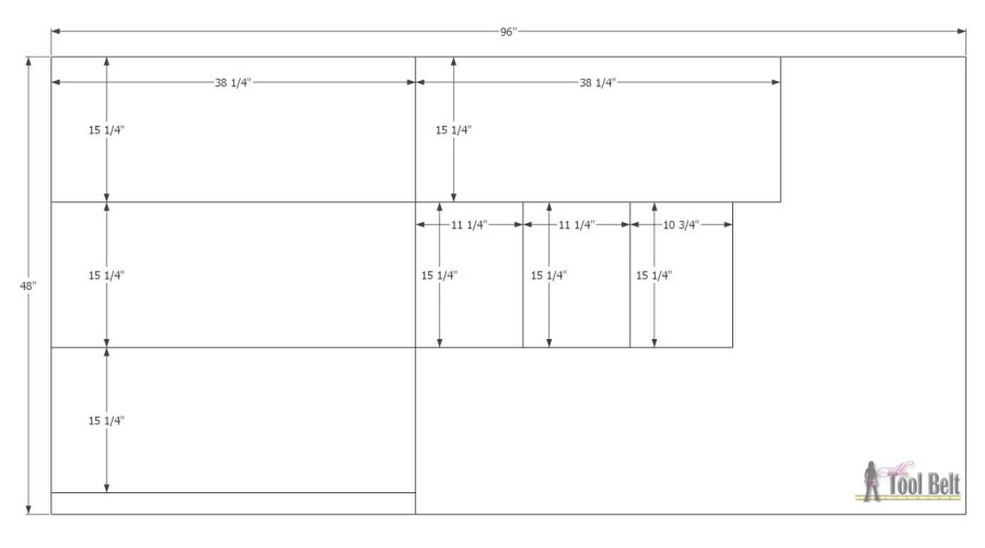 Empire Dresser underlayment cut diagram