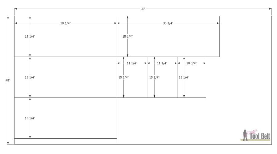 Empire Dresser underlayment cut diagram
