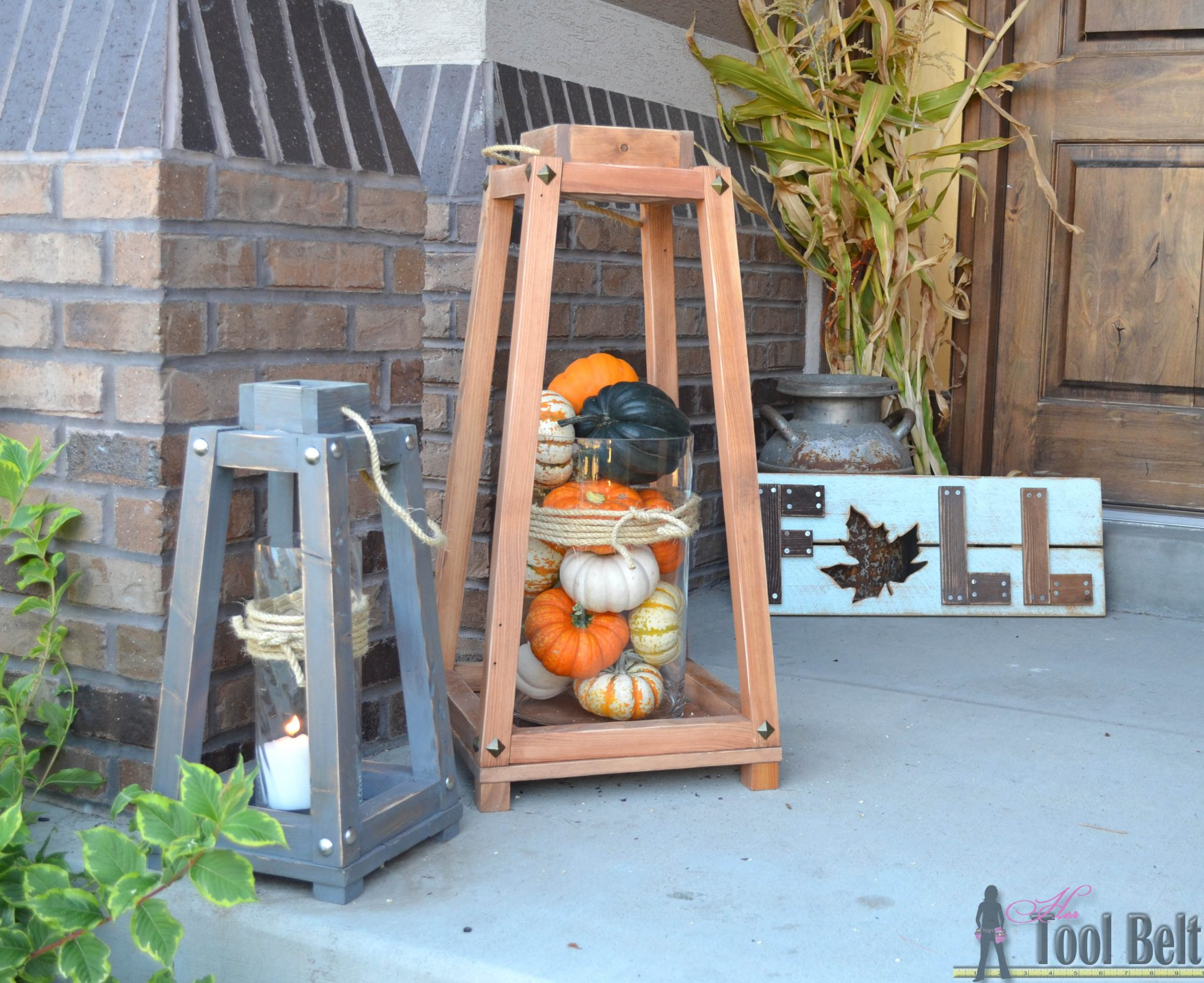 Rustic wood lanterns her tool belt for Rustic home plans with cost to build
