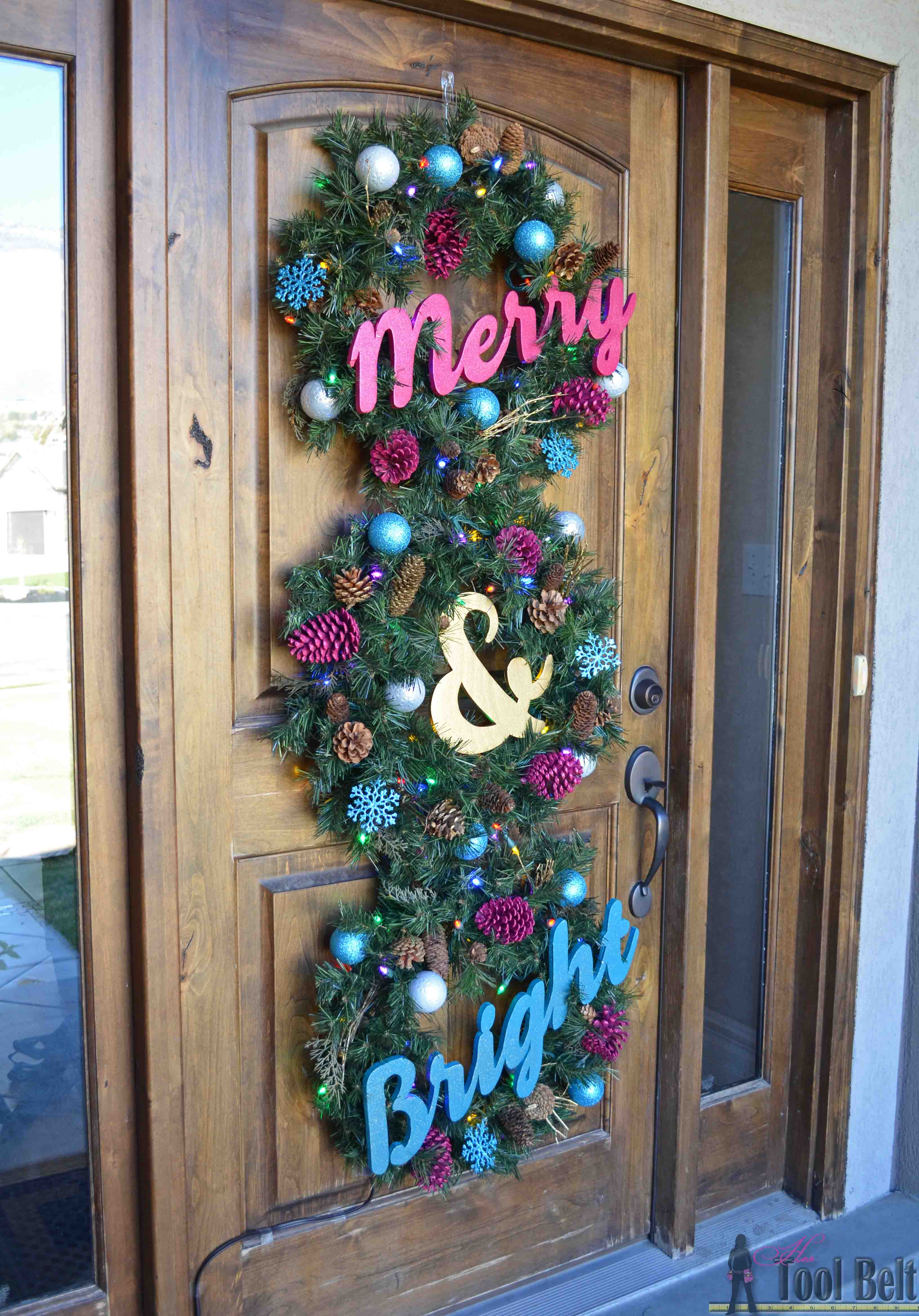 create a very merry and bright christmas wreath trio for your front door this holiday season