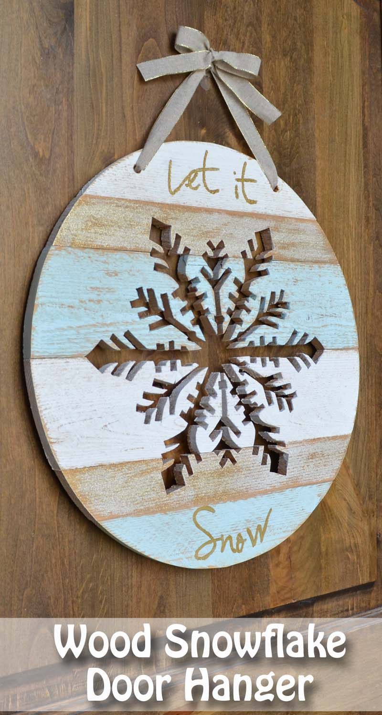 Let It Snow Wooden Snowflake Her Tool Belt