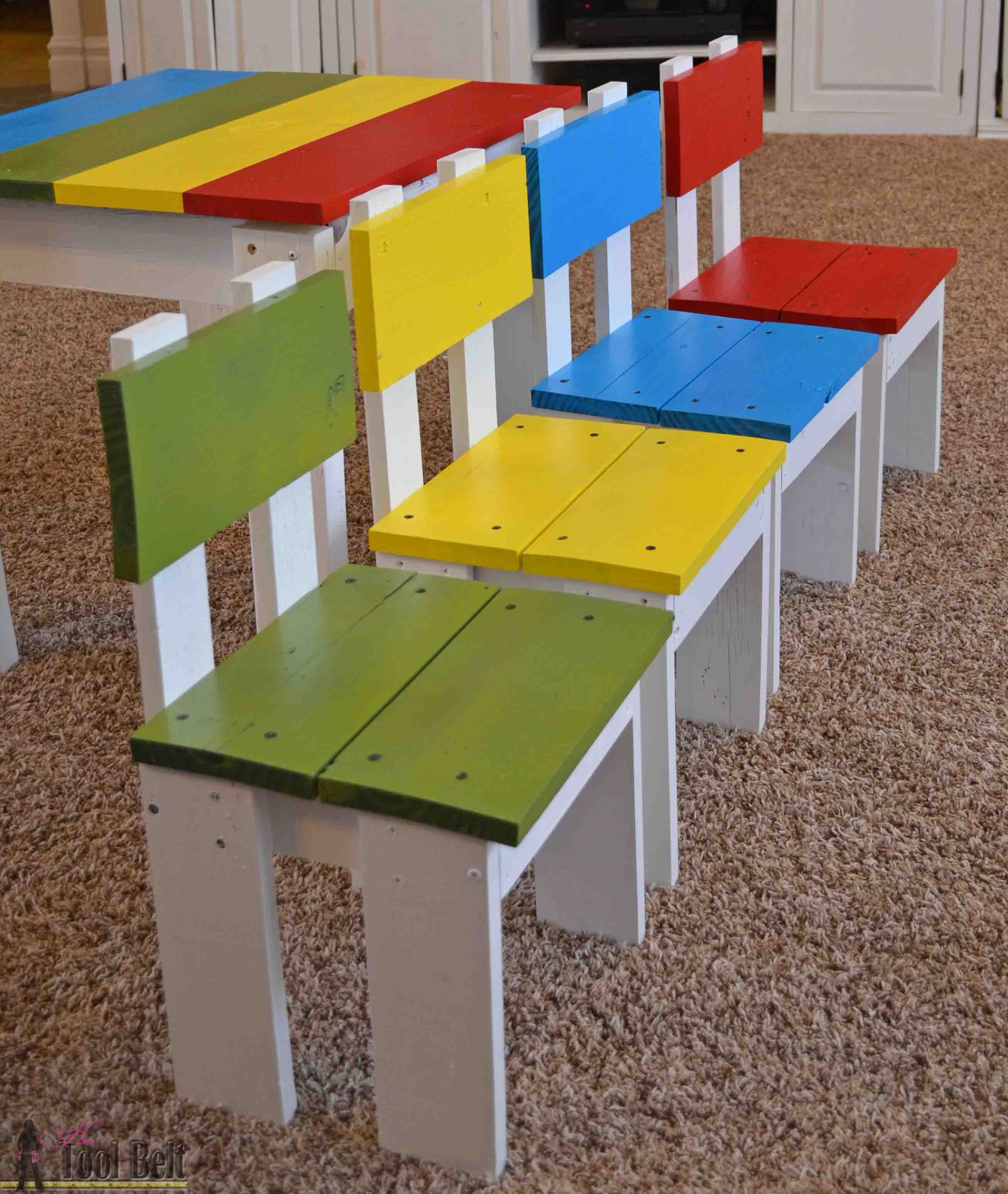 Build an easy table and chair set for the little kids. The set costs ...