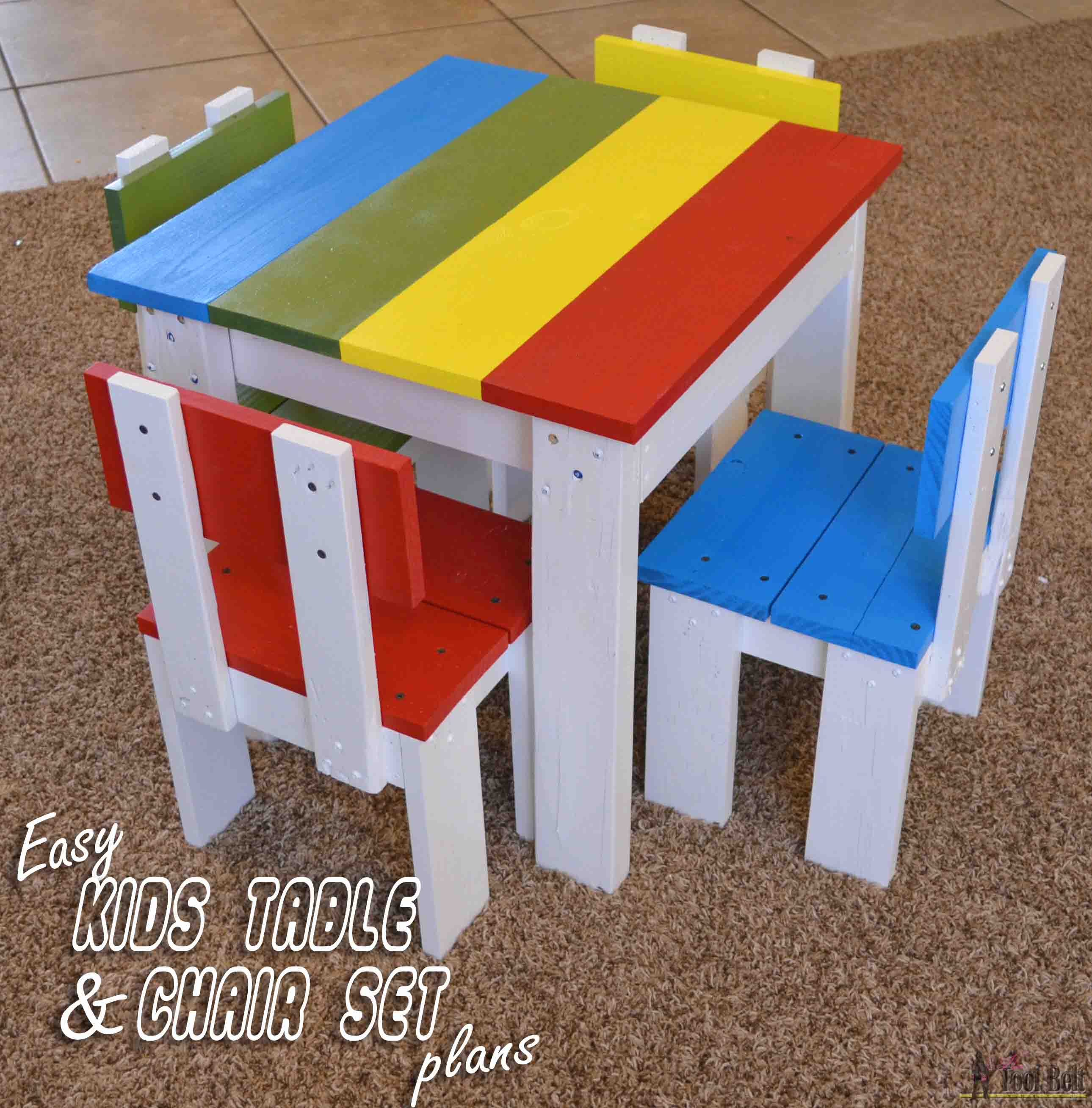 Build an easy table and chair set for the little kids. The set costs about  sc 1 st  Her Tool Belt : table chair set kids - pezcame.com
