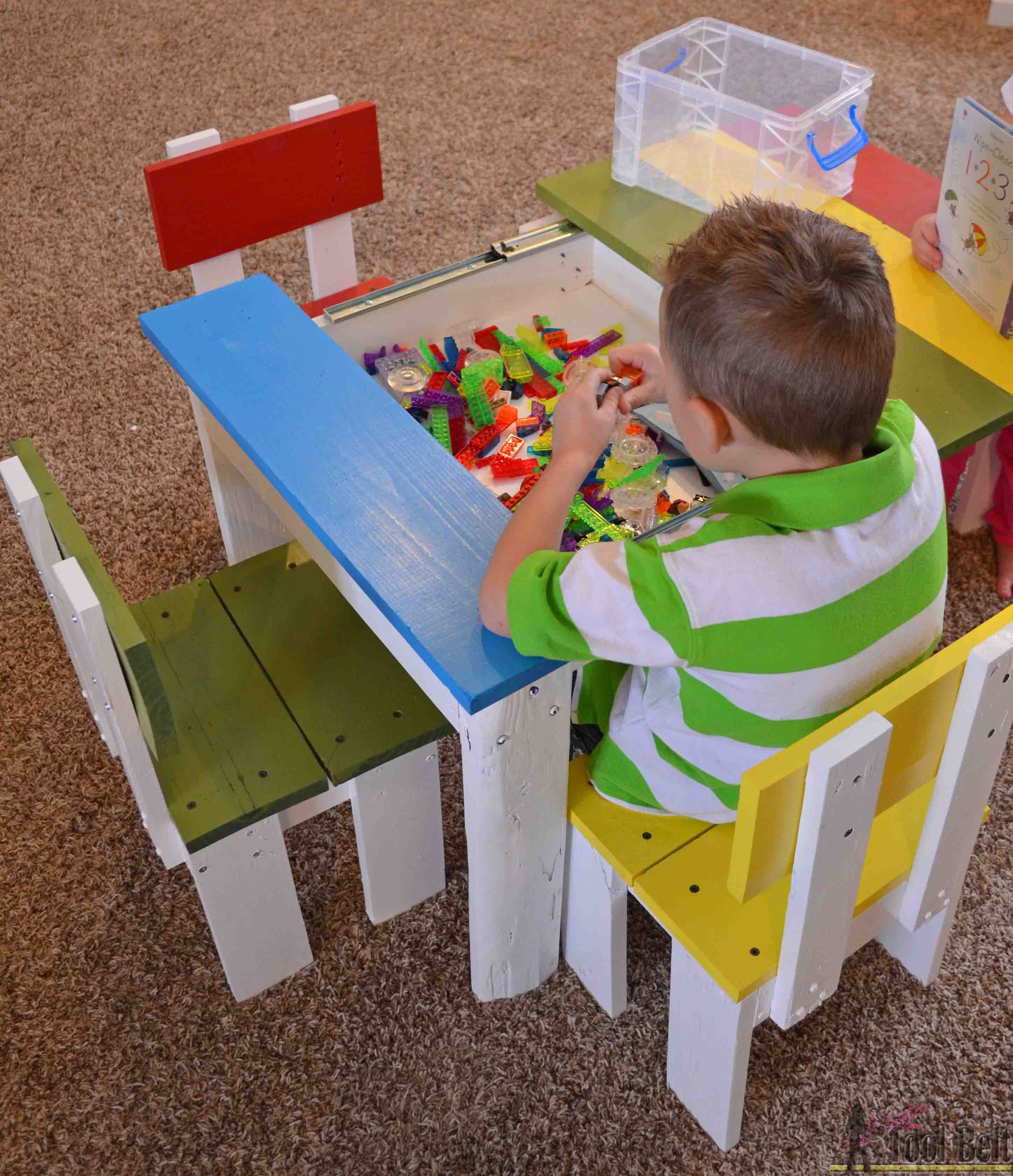 Build an easy kids table and chair set with a sliding top to store Legos. & Simple Kidu0027s Table and Chair Set - Her Tool Belt