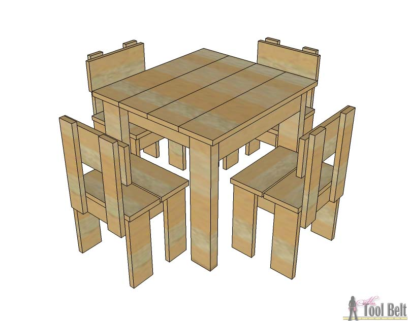 Build an easy table and chair set for the little kids. The set costs about $35 to build. Free plans!