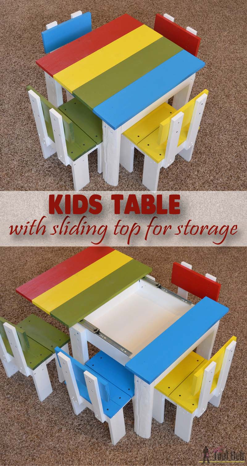 Kids Table With Sliding Top For Storage Her Tool Belt