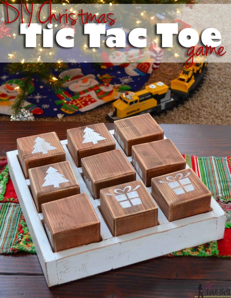 This would be so cute for neighbor gifts or for the grandkids to play. DIY Christmas Tic Tac Toe game with free plans made from simple lumber. #homeforchristmas