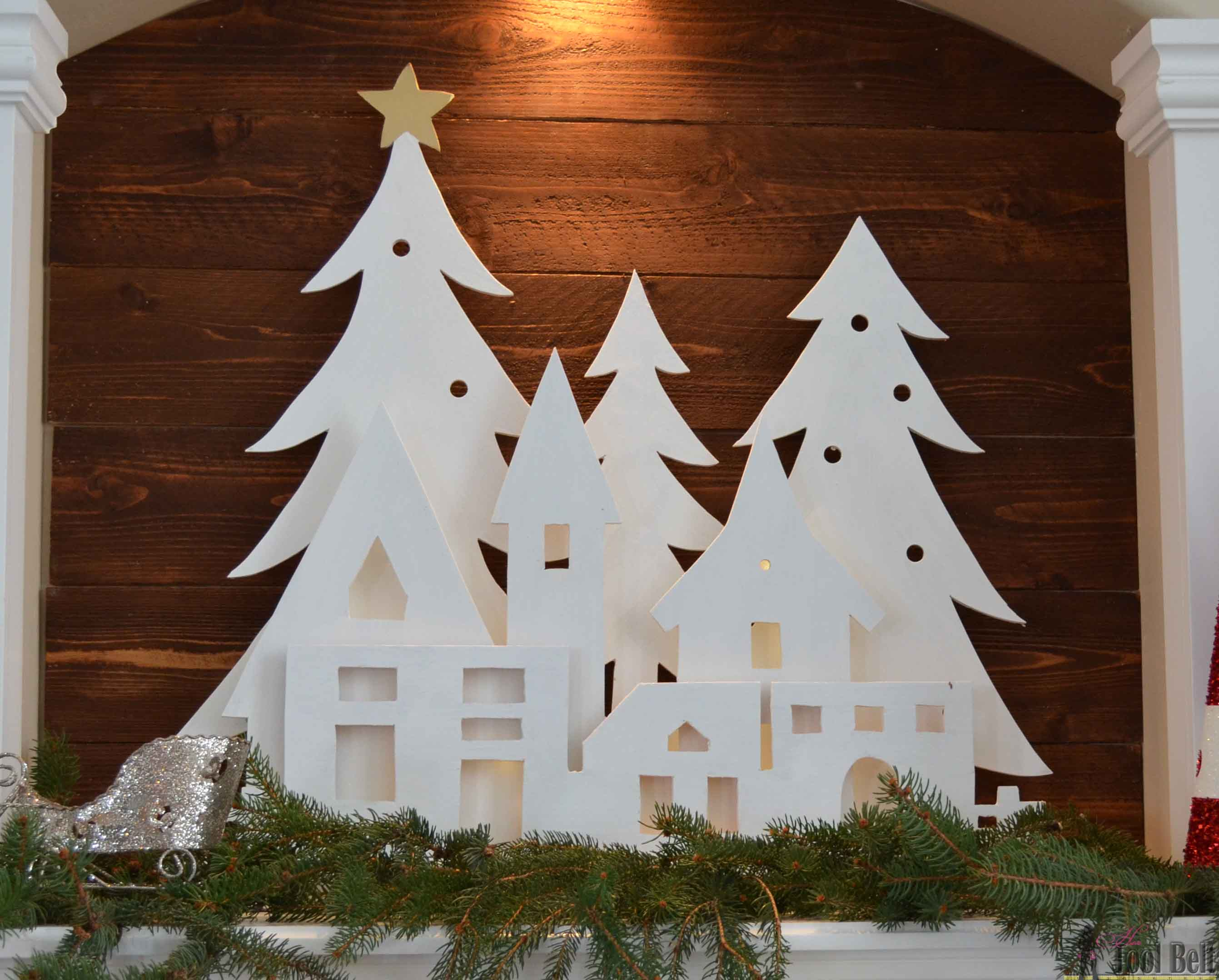 Diy Christmas Village Silhouette Mantel Decor Her Tool Belt