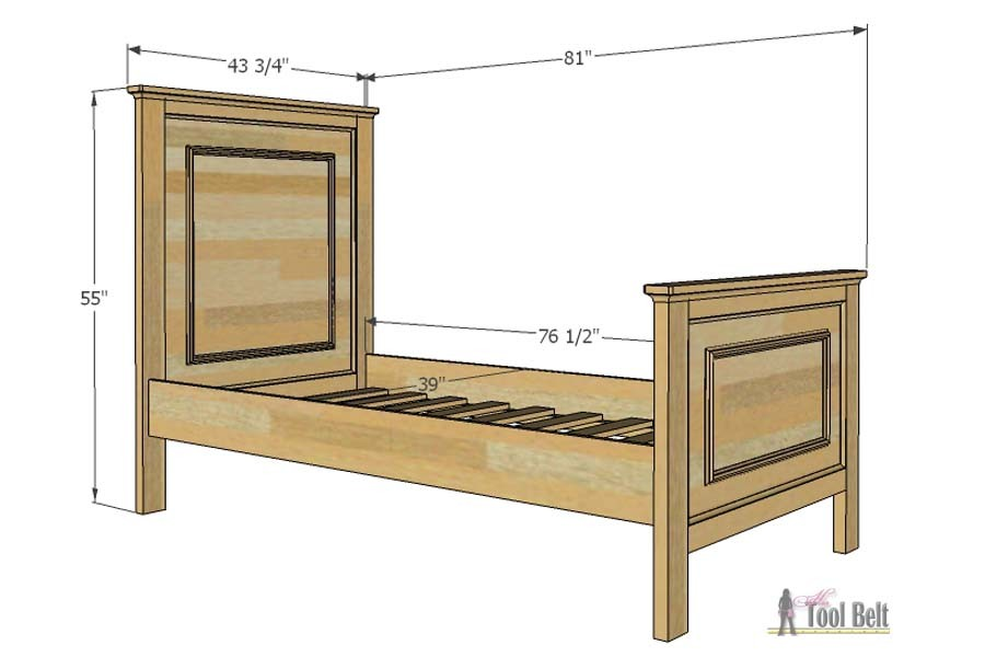This twin bed is so easy to DIY. Add a little molding to create a faux raised panel look. Free twin bed plans.
