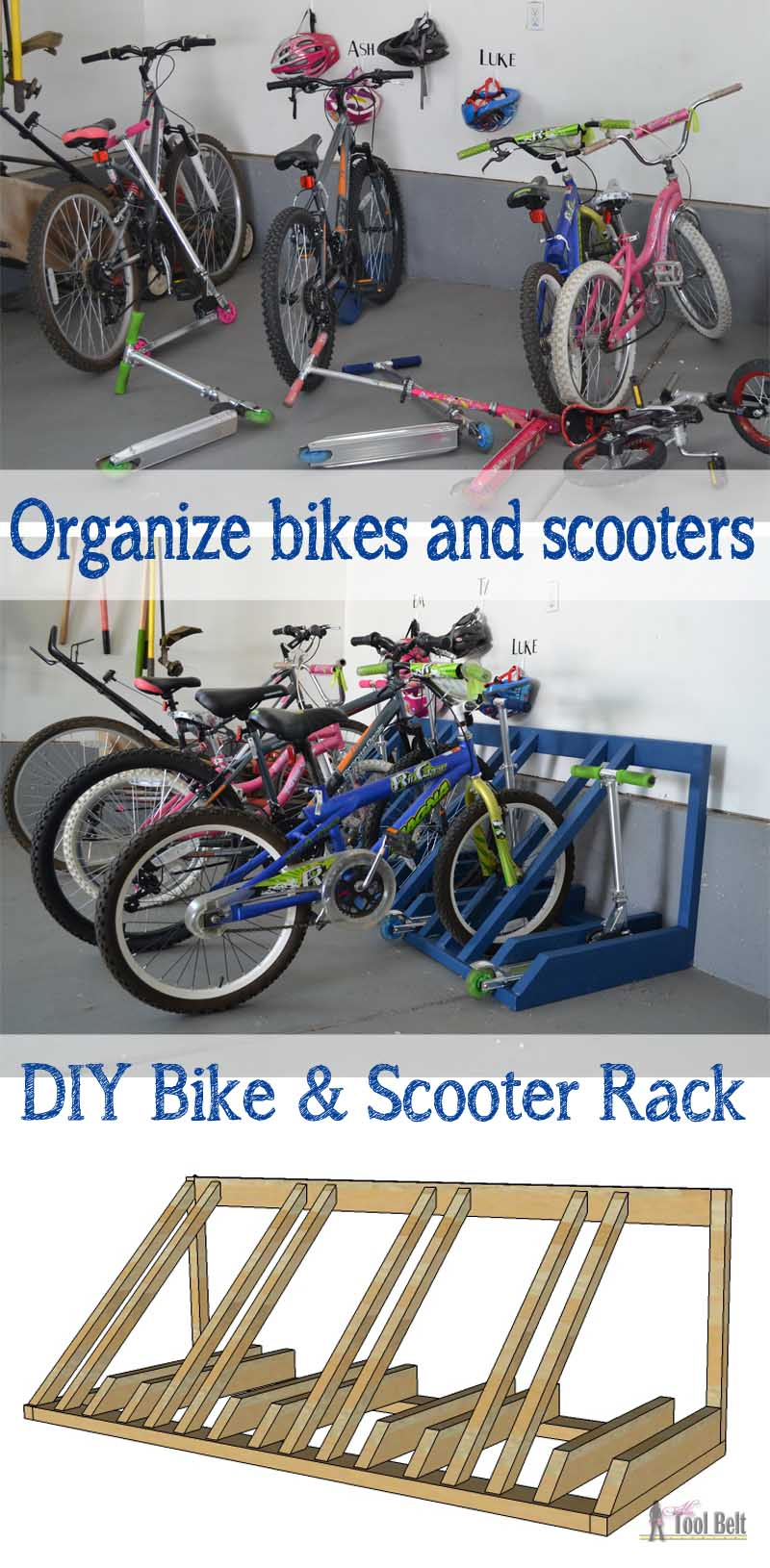 bike storage ideas diy bike and scooter rack tool belt 13105