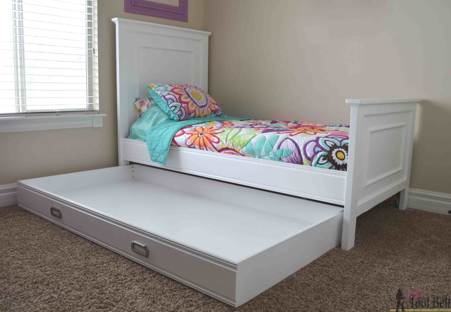 Simple twin bed trundle storage