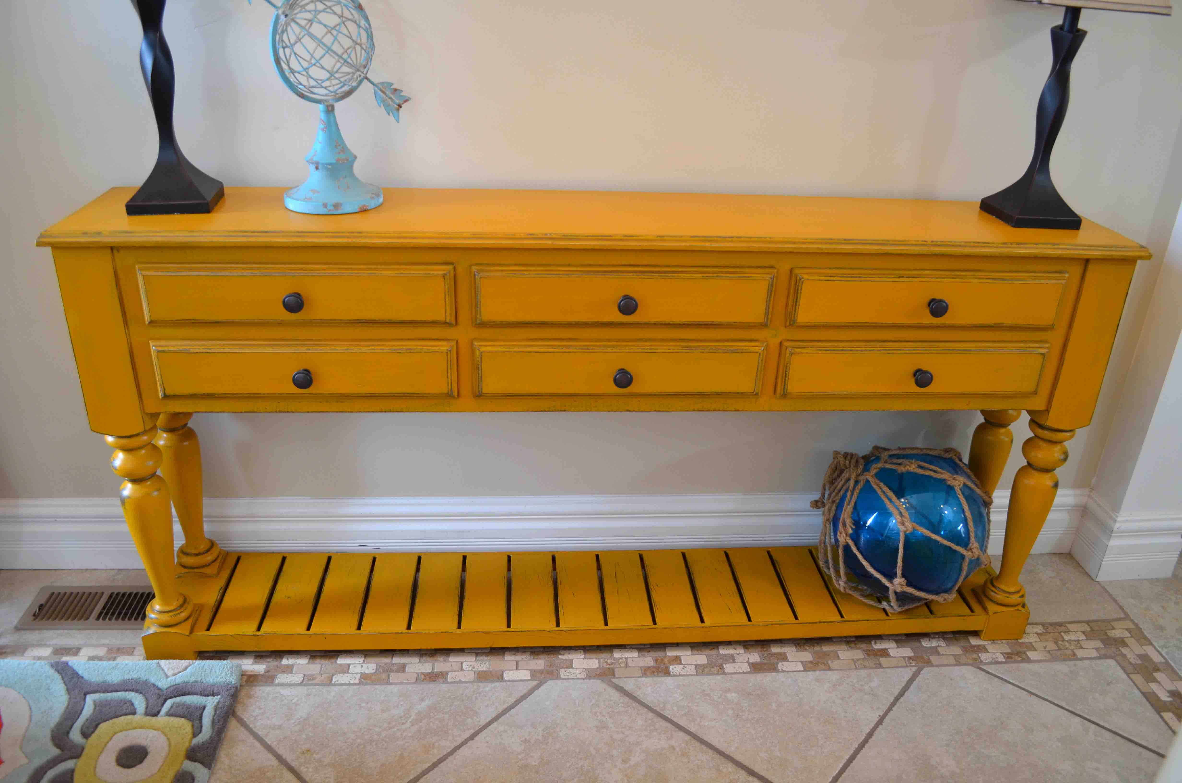 Grand island console table her tool belt for Sofa table yellow