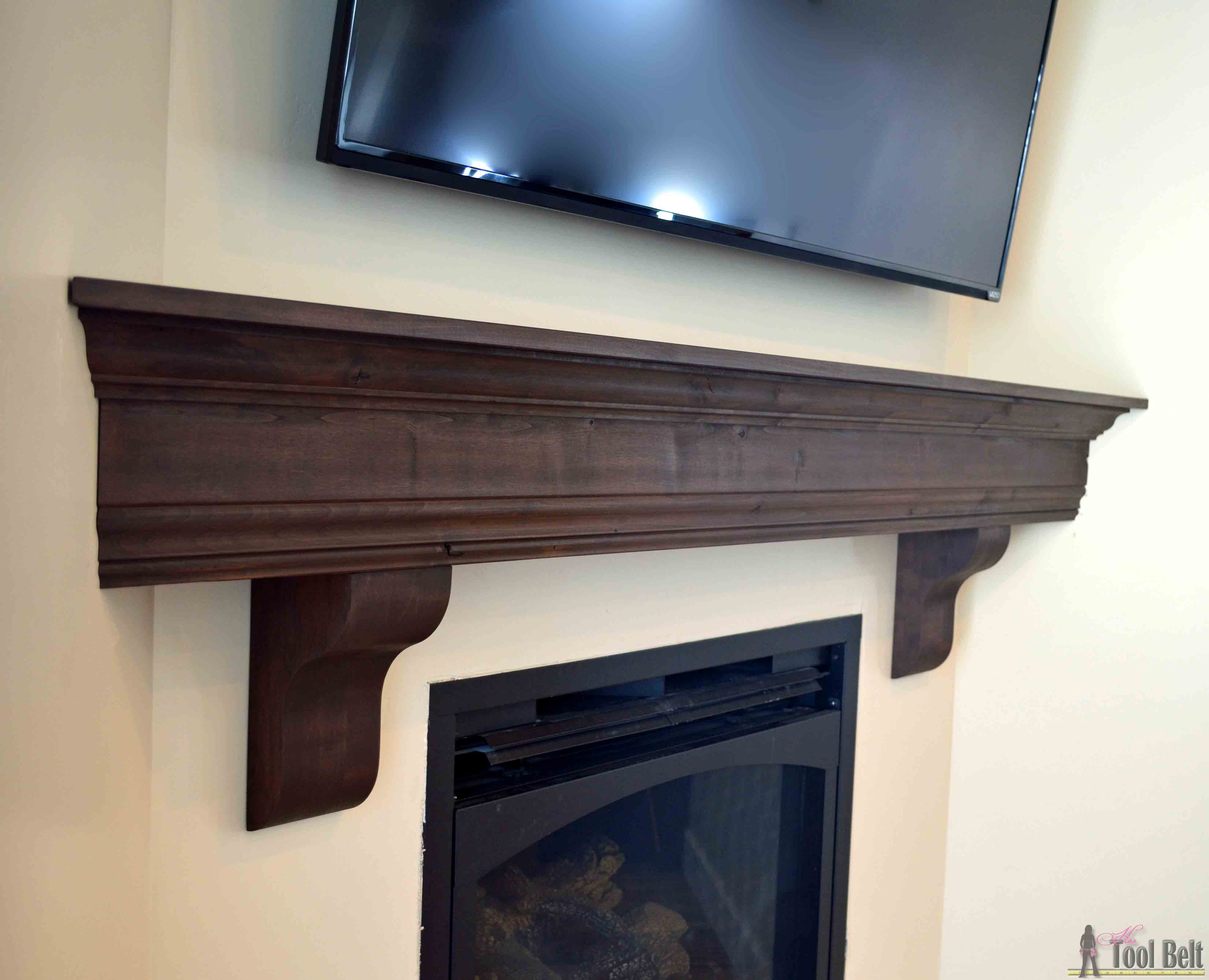 Diy fireplace mantel shelf her tool belt for How to design a fireplace mantel