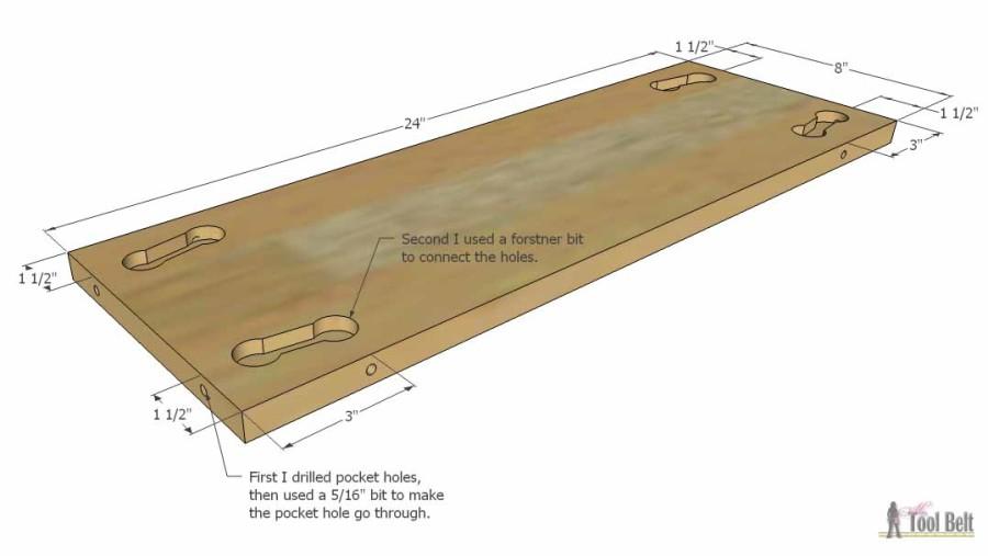Hello Wooden Door Mat- center holes