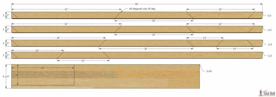 Hello Wooden Door Mat- cut diagram