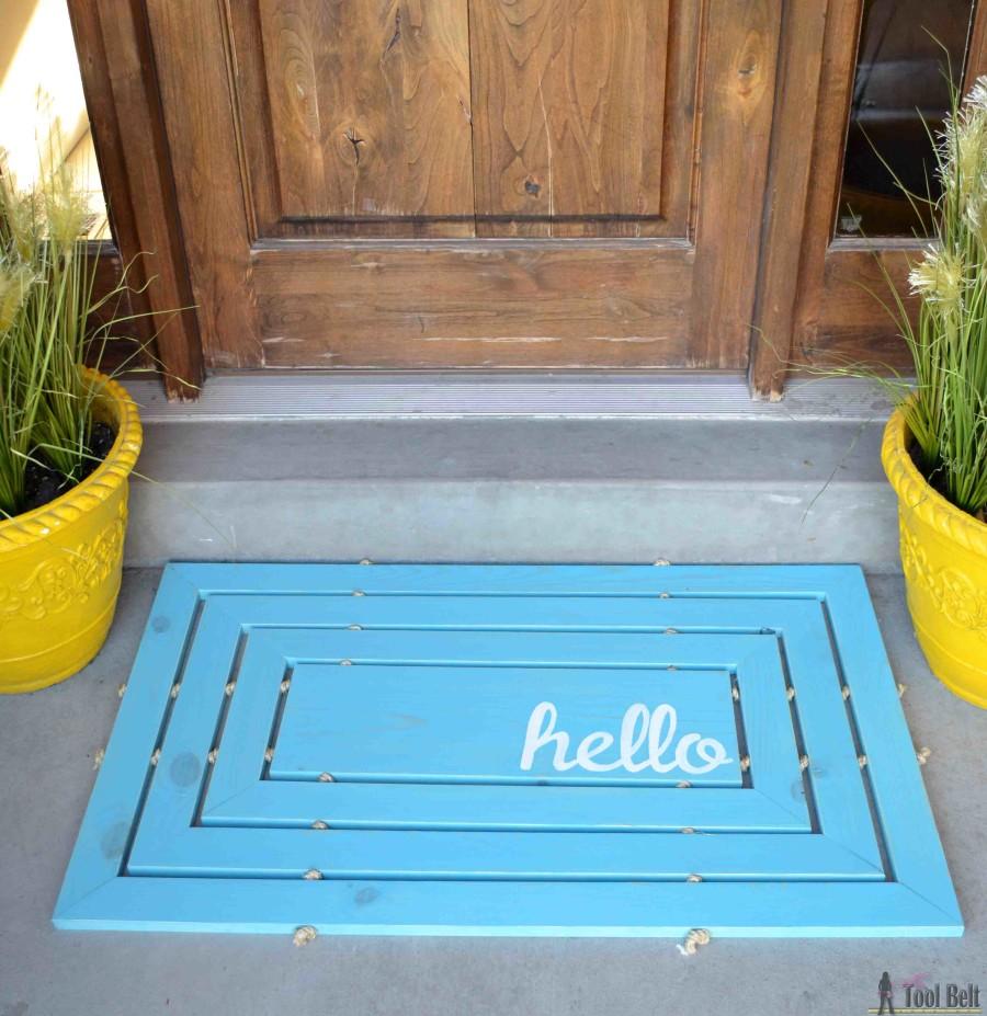 hello wood door mat blue