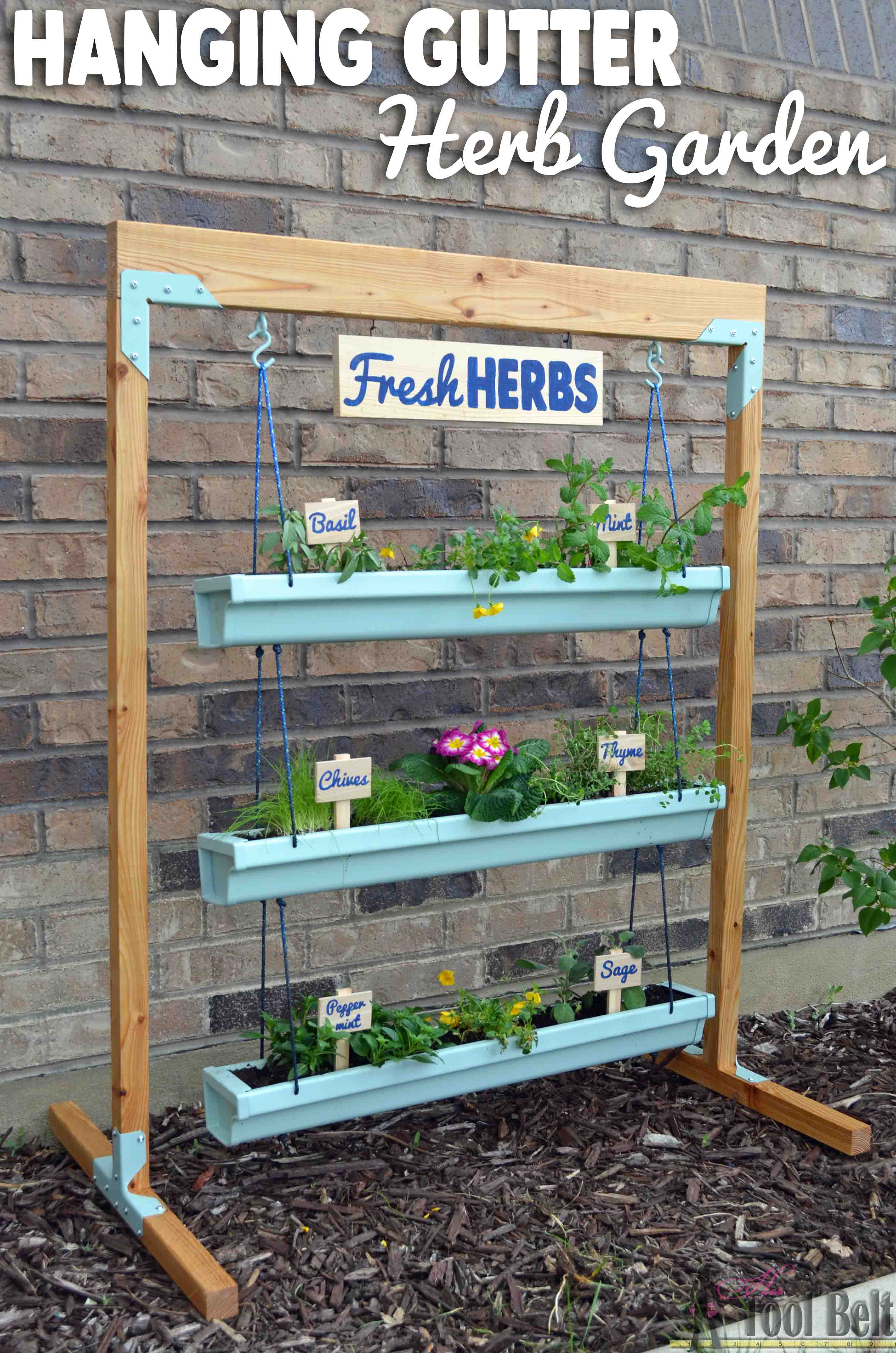 Hanging gutter planter and stand her tool belt for Garden planter designs