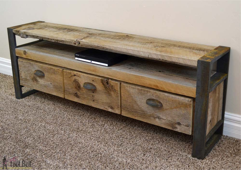 Rustic Media Console Table - Her Tool Belt