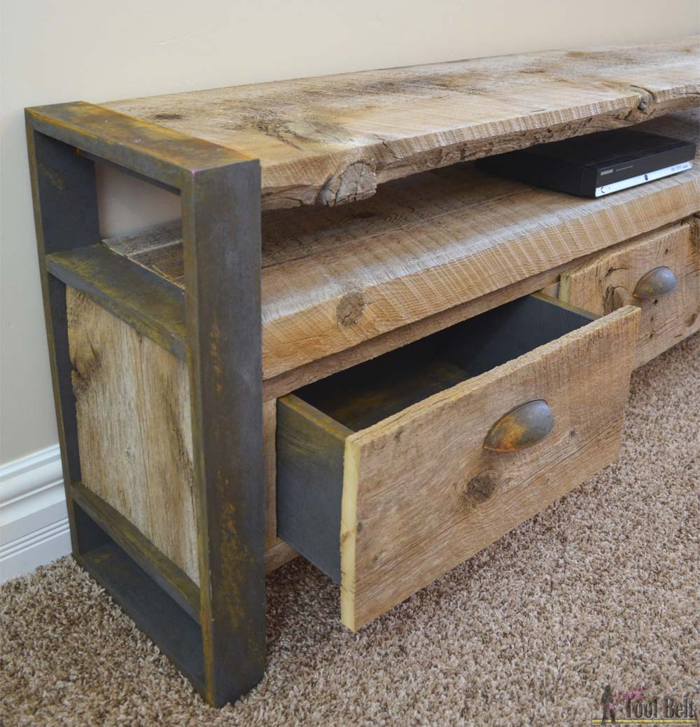 rustic media console table her tool belt. Black Bedroom Furniture Sets. Home Design Ideas