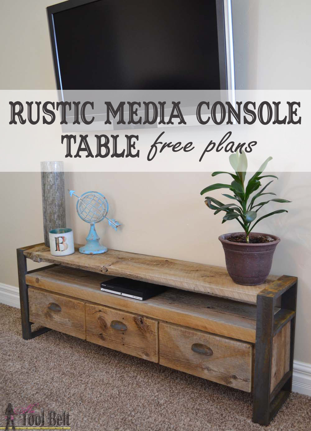 Reclaimed lumber makes the coolest projects. Free plans to build a unique  rustic media console - Rustic Media Console Table - Her Tool Belt
