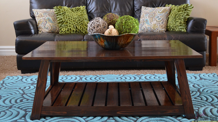 DIY Slat coffee table inspired by the HGTV dream home media room coffee table. Free plans.