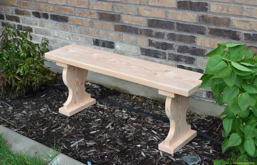Cute little outdoor garden bench, only costs about $13 to build and uses one 2x12 board. Free plans