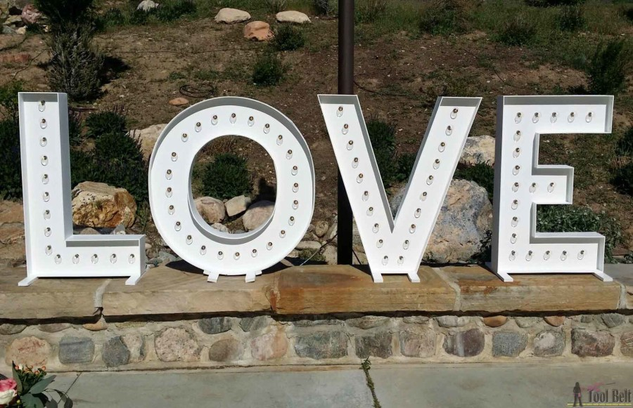 "These are so cute for a wedding and make big statement! DIY LOVE marquee letters that are 40"" tall and made from wood. Free plans + building tutorial."
