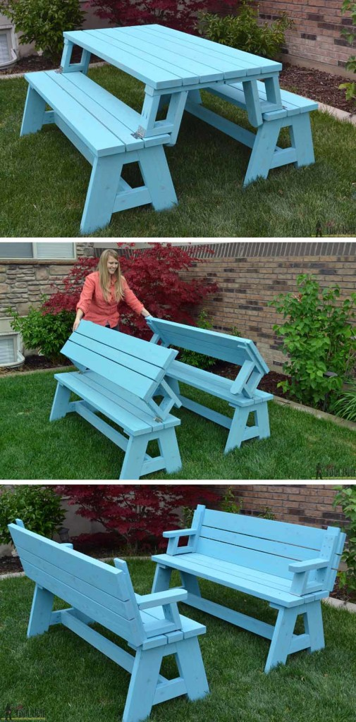 ... it easily converts into two cute garden benches. The picnic table