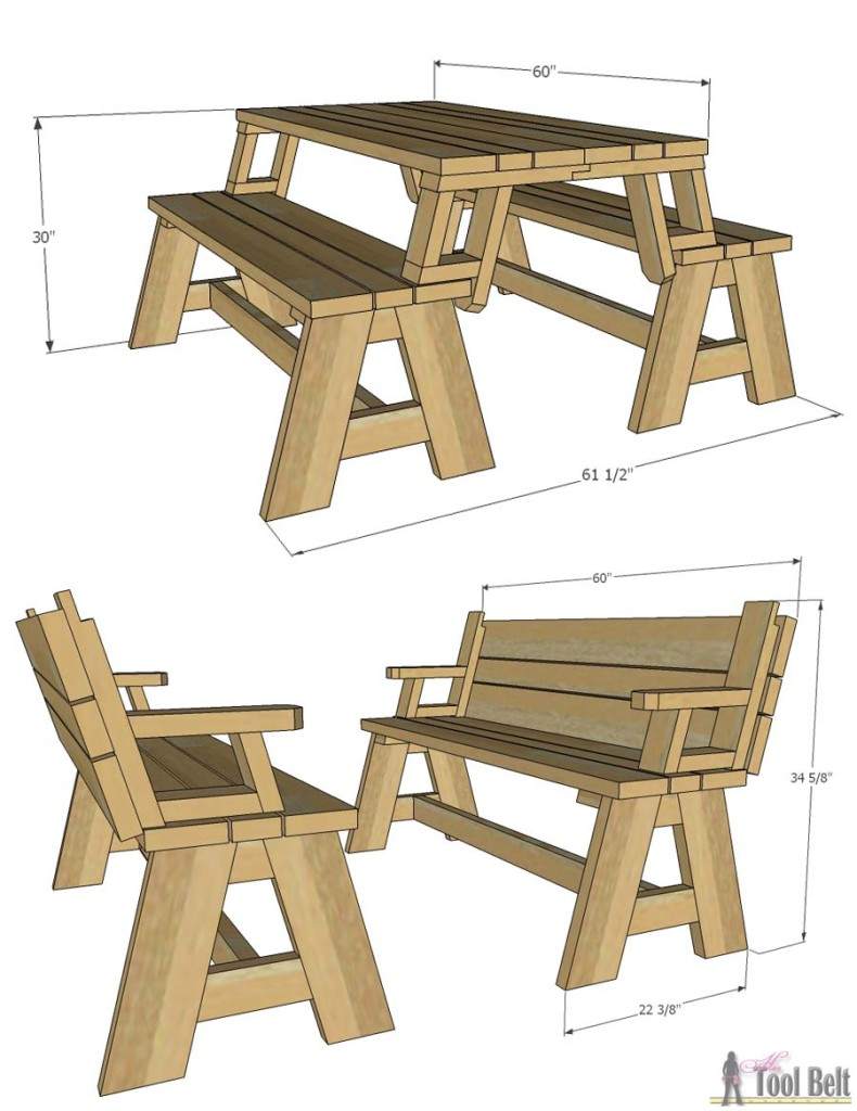 Get the free plans for this Convertible Picnic Table and Bench Combo at  Buildsomething.com - Convertible Picnic Table And Bench - Her Tool Belt