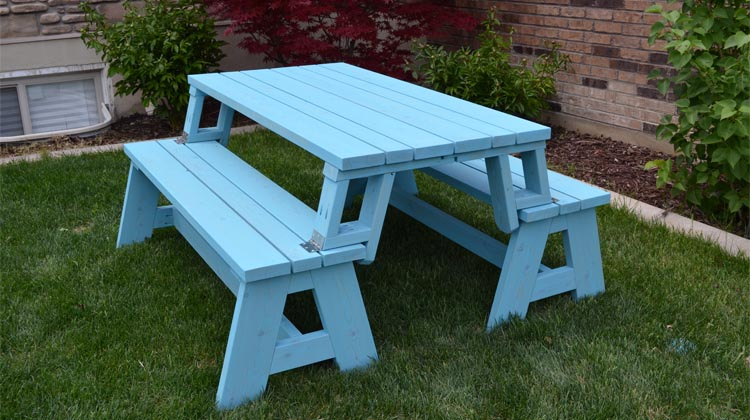 Convertible Picnic Table And Bench Her Tool Belt - How to stain a picnic table