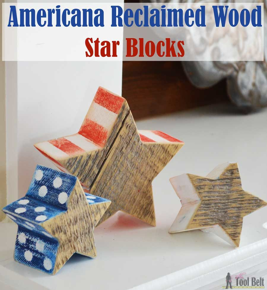 Super easy Americana wood craft using chunky reclaimed wood (barn wood). Distressed red, white and blue star blocks with free pattern and simple tutorial.