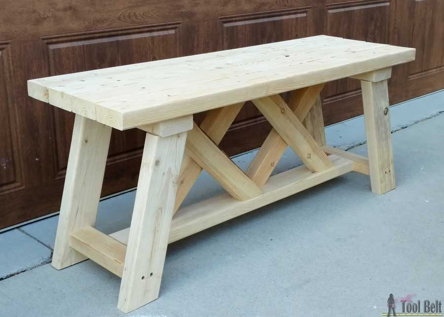 Build a cute little DIY bench for you porch or entry. Use 2x4's to ...