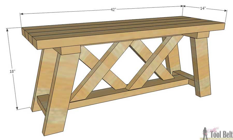 Bench-double-X-overall-dimensions